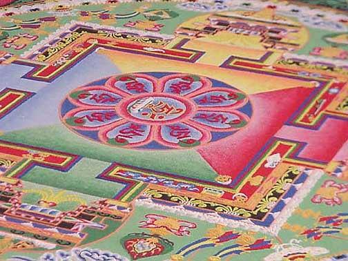 Mandala s tibetskými znaky